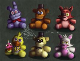 FNAF Plushies by CPT-Elizaye