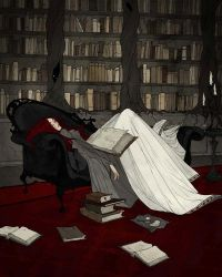 Asleep in the Library by AbigailLarson