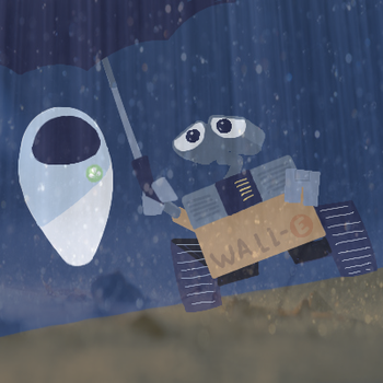 Wall-E and EVE: Umbrella by GeneralAster