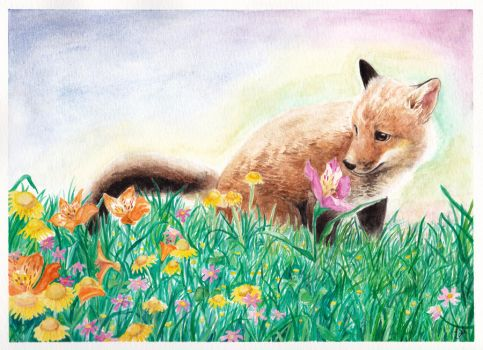 Fox and Flower by Crimsonlily434