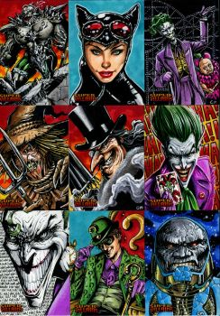 Villains sketch cards for Cryptozoic's DC comics by Kapow2003