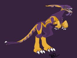 Purple and Gold Dragon by dinosapien