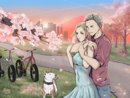 Walking Among the Cherry Blossoms by Poleron402