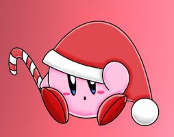 Santa Kirby by The-Super-Brawl-Girl