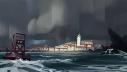 City in a storm sketch by eeliskyttanen