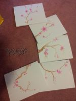 Watercolor Sakura Cards - Set of 5 by tamaneko-i-b