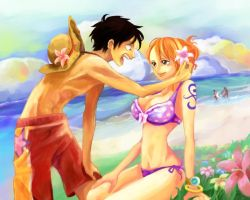 Luffy Nami flower by 24person