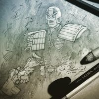 Judge Dredd sketching by FlowComa