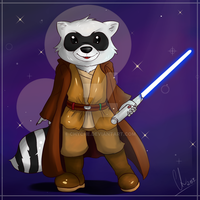 Raccoon Jedi by Chyche