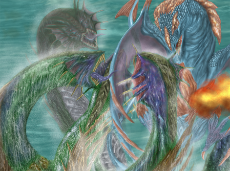 Hydra vs dragons detail by PabloRemiro
