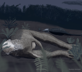Sleeping Pachycephalosaurus by Szymoonio