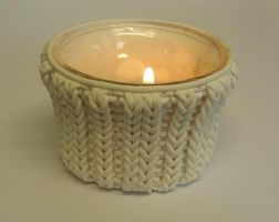 faux cabled candle holder by OriginalBunny