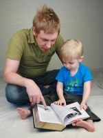 Father and Son Reading II by IQuitCountingStock