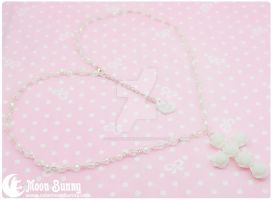 Cross of Roses Necklace by CuteMoonbunny