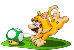 Cat Mario 1-Up Hunter - T-Shirt by IndigoWildcat