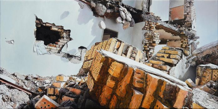 Ruin 2, 2015, 50 x 100 cm, oil on canvas by christopheberle