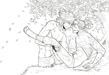 Kakashi, Iruka and leaves by wristwatchwitch
