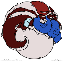RedWolf in the Round (chibi anthro belly) by GrottoKraft