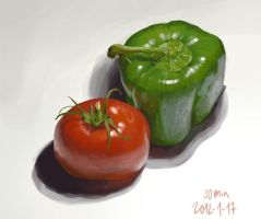 Red Tomato Green Pepper by enonea