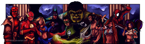 Comic Heroes commission by beiibis