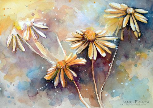 Purple Dream Garden, watercolor study by jane-beata