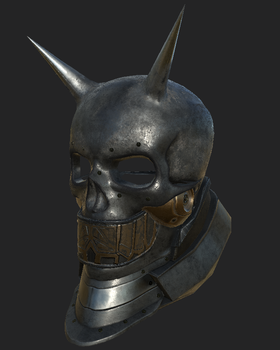 Skull Helmet front view low poly game asset by VladOcs