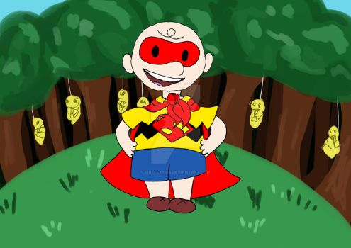 Charlie Brown in Kanto dressed up as a superhero by Firefly1508