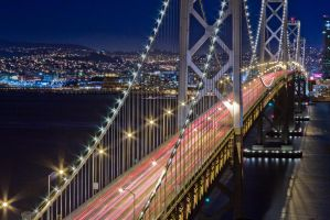 Beautiful Bay Bridge at Night by xelement