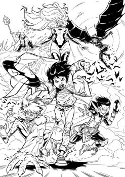 Teen Titans  (test page) - Cover by darnof