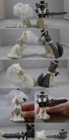 Cat and Wolf Wedding Toppers by ChibiSilverWings