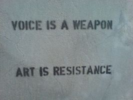 Voice is a weapon lettering by Drake-Rubicon