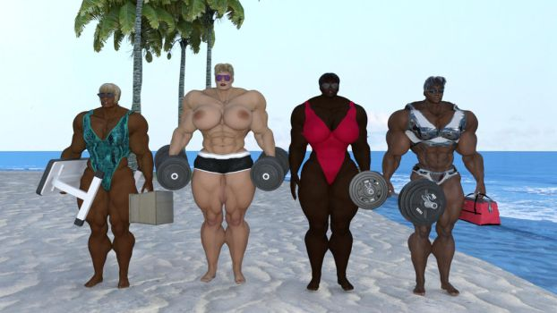 Muscle beach giantess setup by aldebaran086