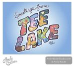 Tee Lake Resort Retro-Style Postcard by Andy Bauer by Art-by-Andy