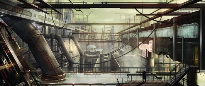 another industrial Sci-Fi cityscape by seriousx9