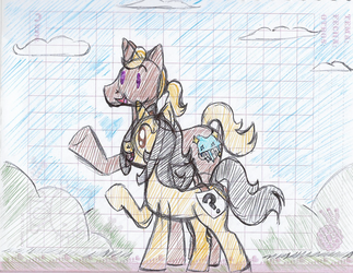 Oc and Ponysona walking and talking by Camichicamagica