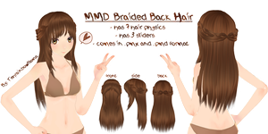 MMD Braided Back Hair by Tehrainbowllama