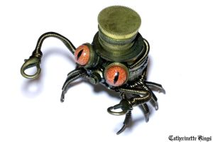 Steampunk Crab Sculpture with top hat by CatherinetteRings