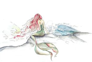 The Mermaid With Red Hair by KatrinaRyanArt