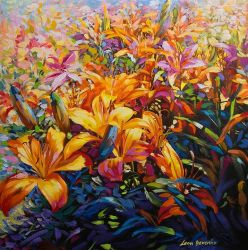 Floral art painting by Leon Devenice by leondevenice