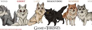Game of Thrones: House Stark Direwolf Chibis by DivineTofu