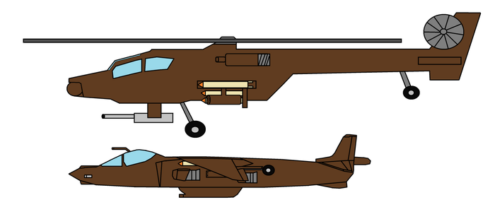 combat helicopter and vtol jet by RagingBullet