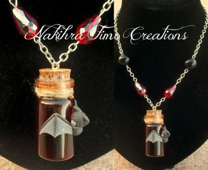 Bottled Blood With Bat Polymer Clay by Nakihra