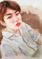 Jungkook selca - watercolor fanart by for-infinity