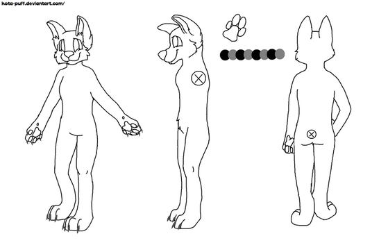 Fursuit Reference Sheet Base FEMALE by Kota-Puff