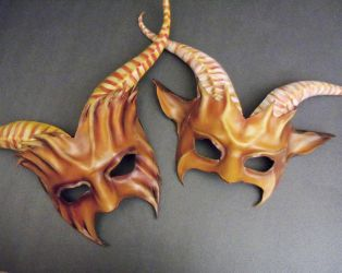 Leather Goat Mask Couples Pair By Teonova by teonova
