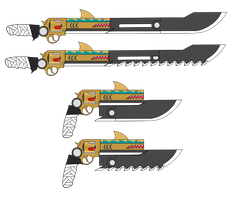 [RWBY OC Weapon]  Swordfish and Sawfish by knightwolf09