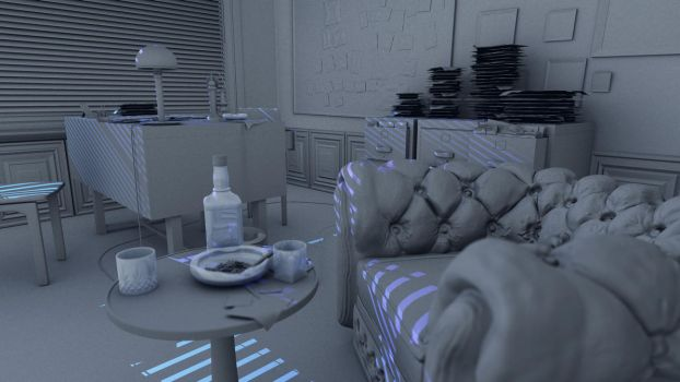 40s private detective room test render by Ramdabam