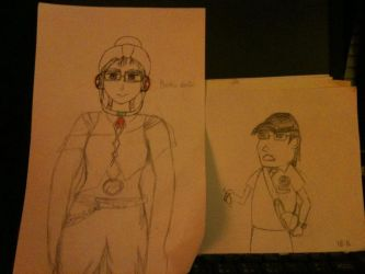Self Portrait and Chibi drawing of Yoo Jae Suk by ForeverAnimeFangirl