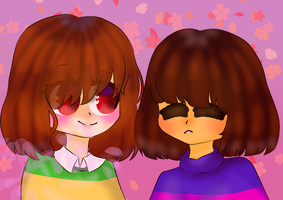 Frisk and Chara by Ariatoka45