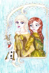 Elsa and Anna in Gold by IsisConstantine